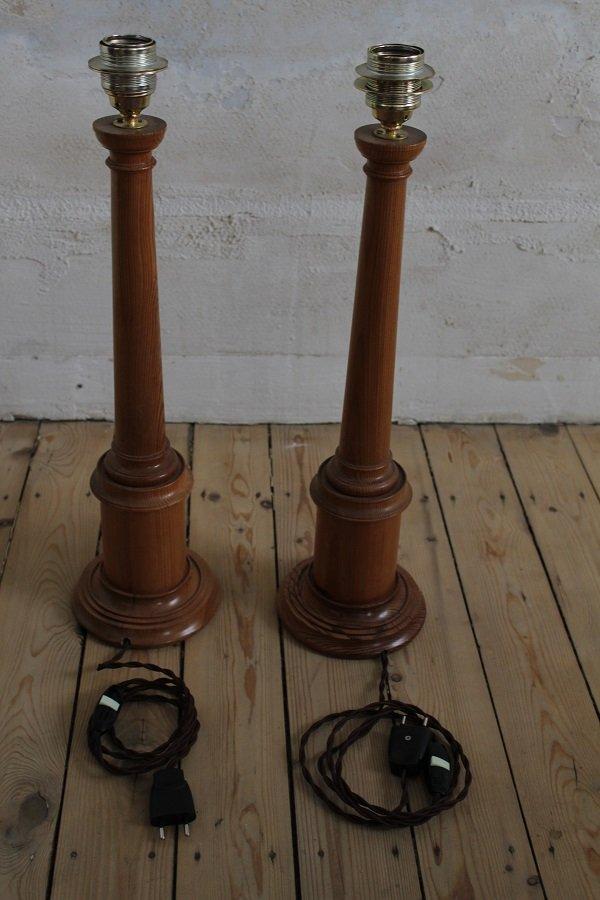 Antike Kiefernholz Tischlampen, 2er Set