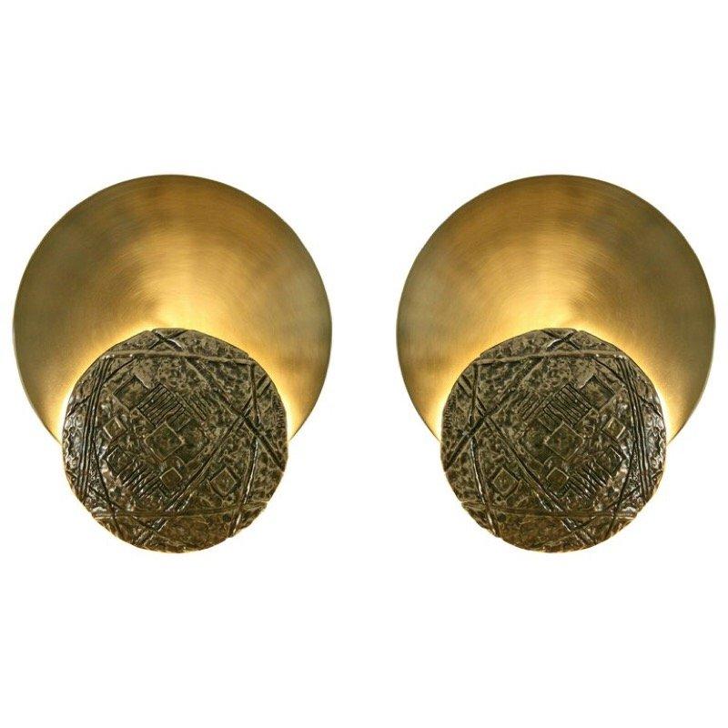Italienische Gong Leuchten aus gegossenem Messing & Satin Messing von ...