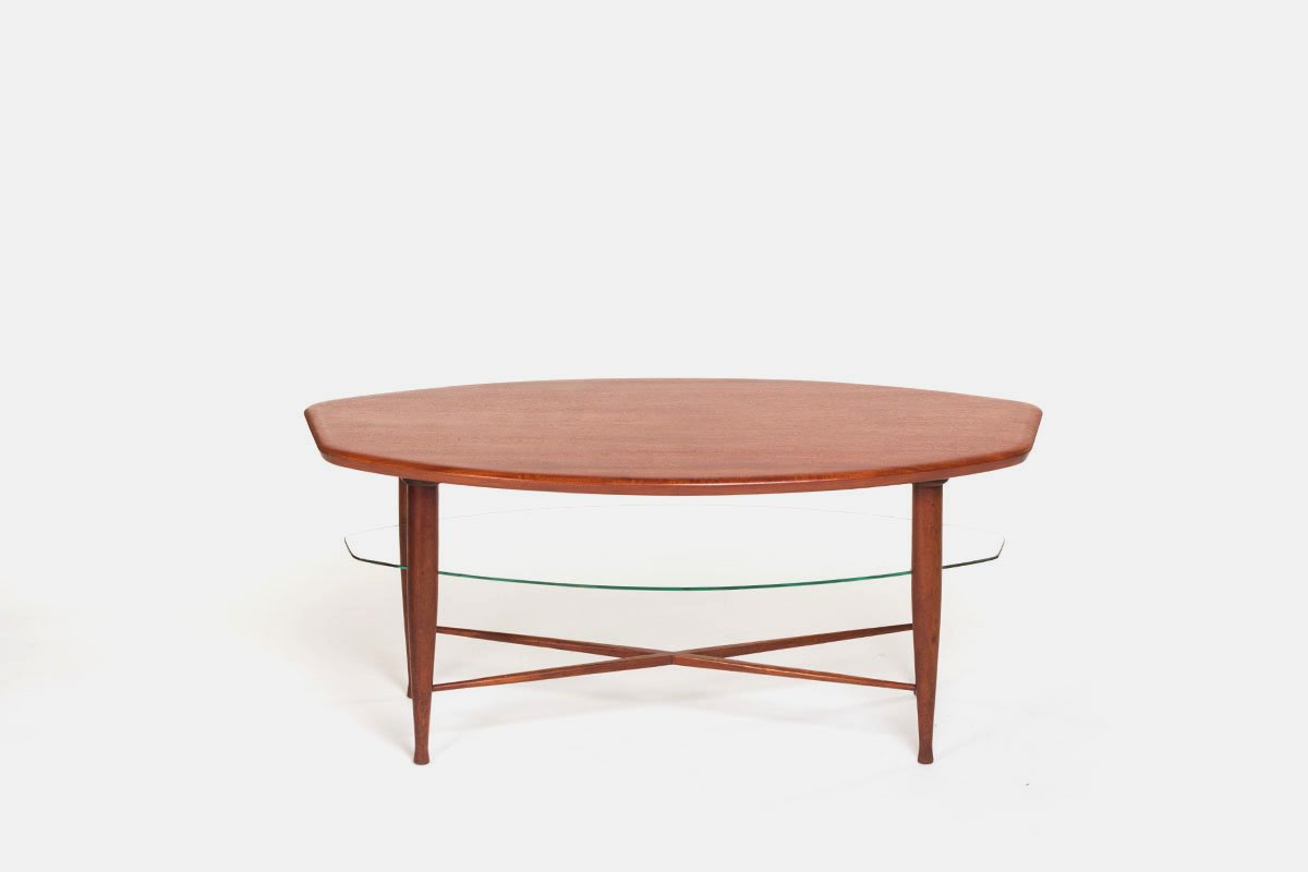 teak couchtisch mit glas zeitschriftenablage 1960er bei pamono kaufen. Black Bedroom Furniture Sets. Home Design Ideas