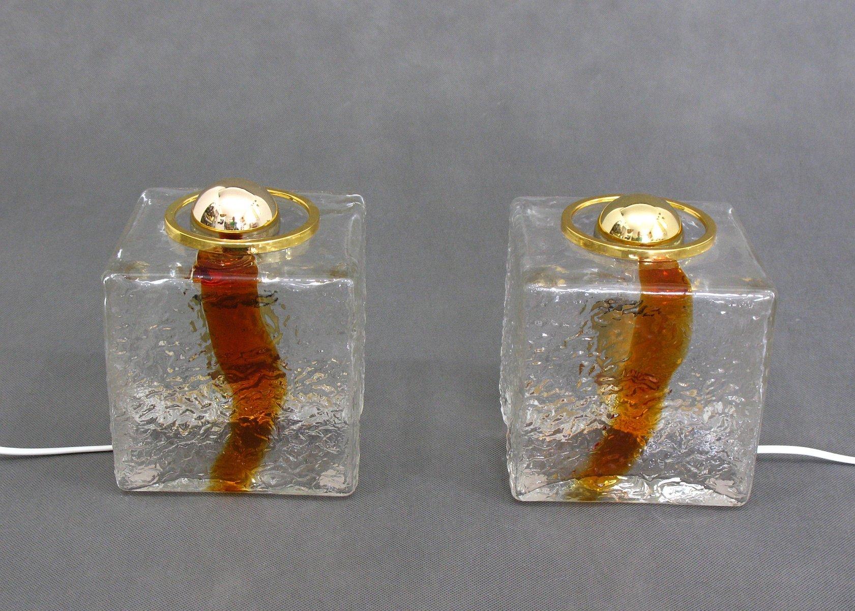 2-farbige würfelförmige Glas Tischlampen von Toni Zuccheri für VeArt, ...