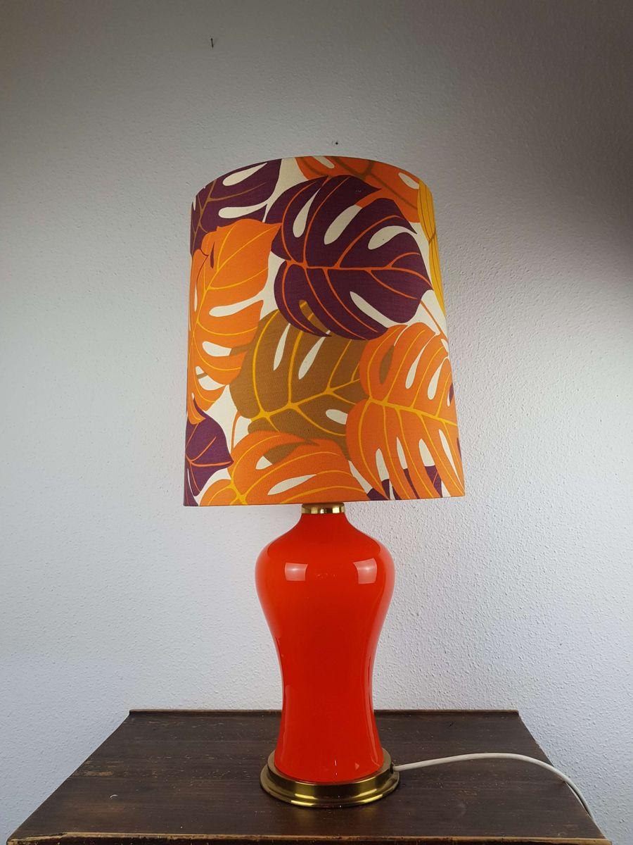 Orange Tischlampe mit bunter Leuchte & beleuchtetem Fuß, 1970er