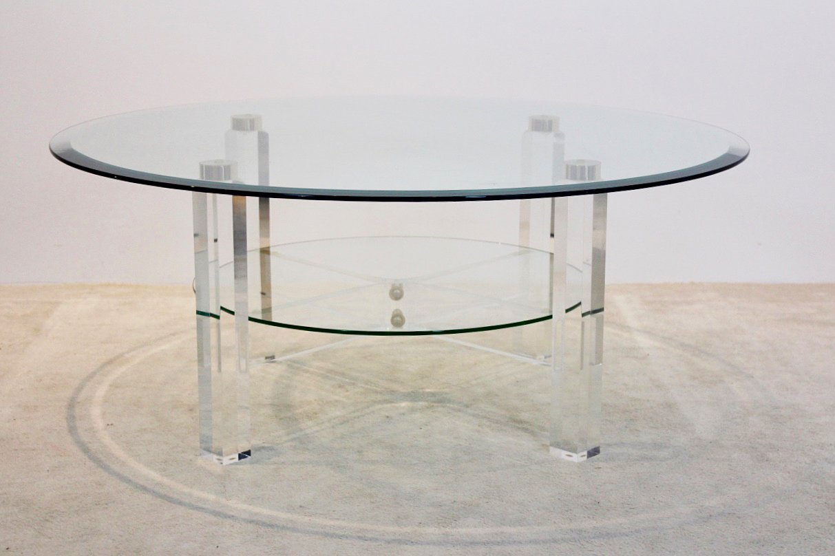 belgischer lucite messing glas couchtisch 1970er bei pamono kaufen. Black Bedroom Furniture Sets. Home Design Ideas