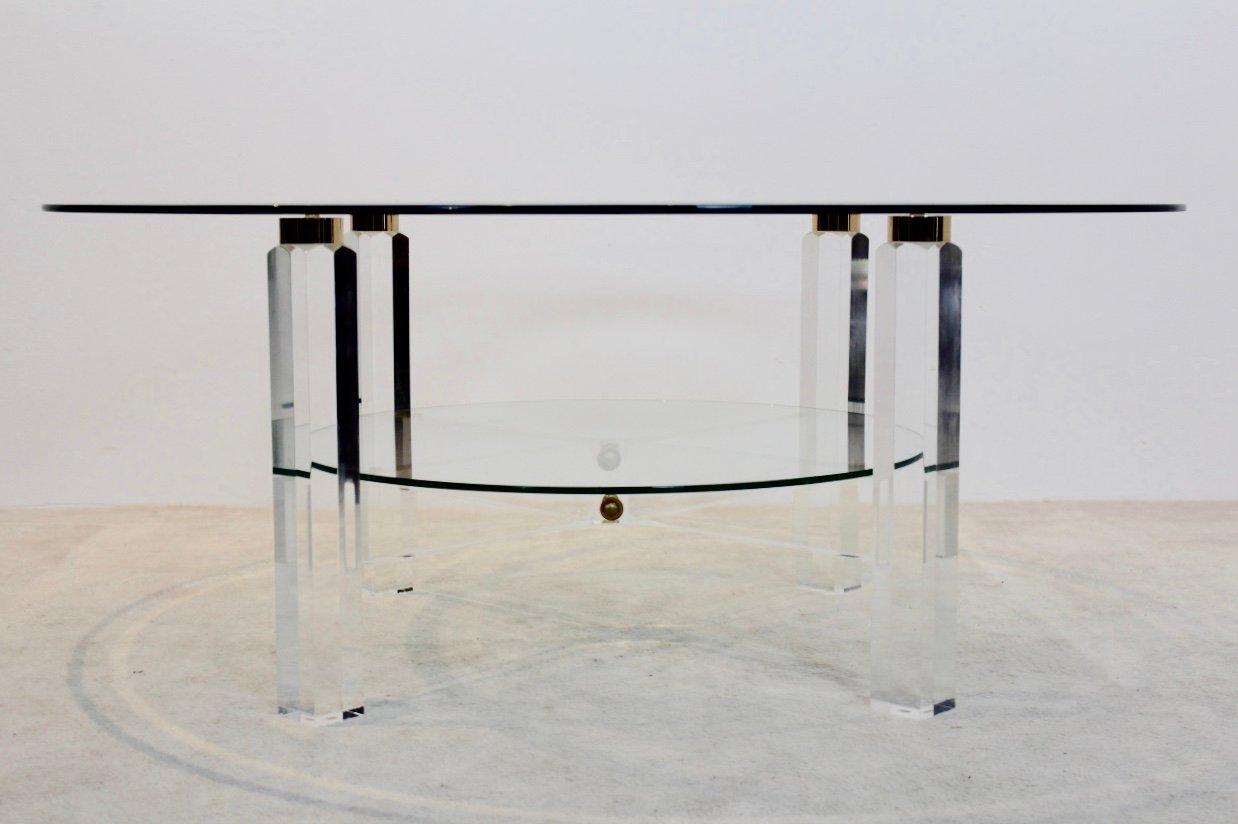 belgischer lucite messing glas couchtisch 1970er bei pamono kaufen. Black Bedroom Furniture Sets. Home Design Ideas