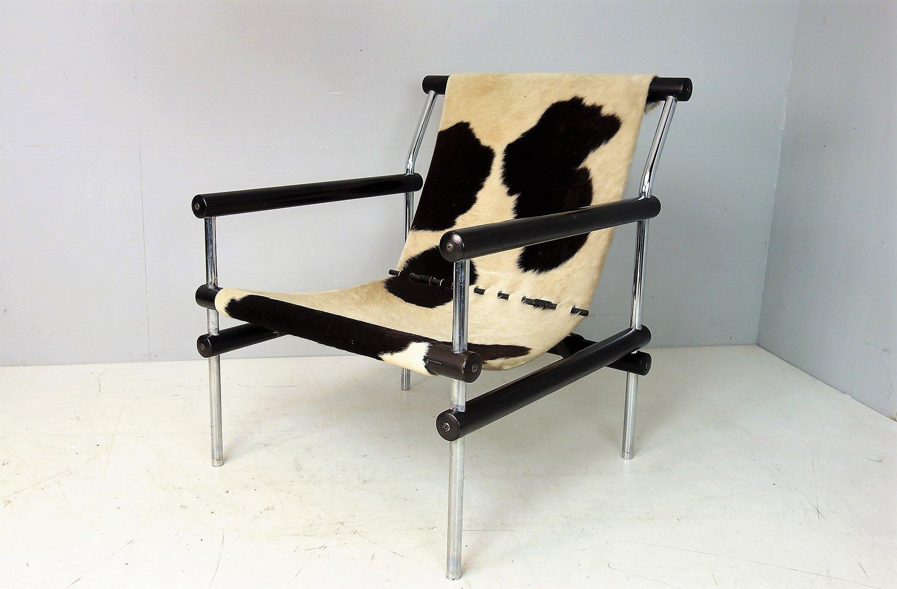 Konstruktivistischer Vintage Sessel mit Kuhfell Bespannung