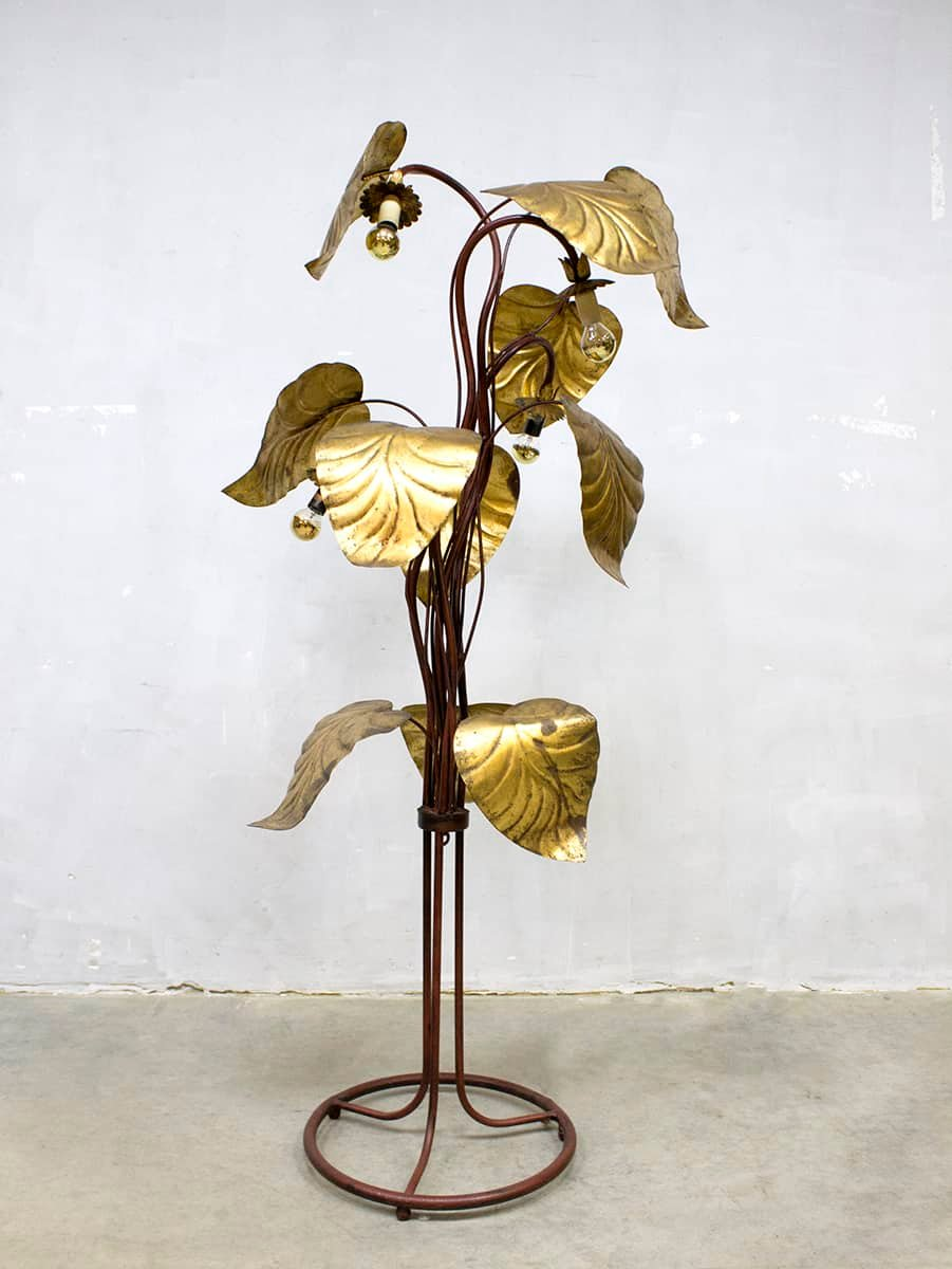 Mid-Century Rhabarber Blatt Stehlampe in vergoldetem Messing