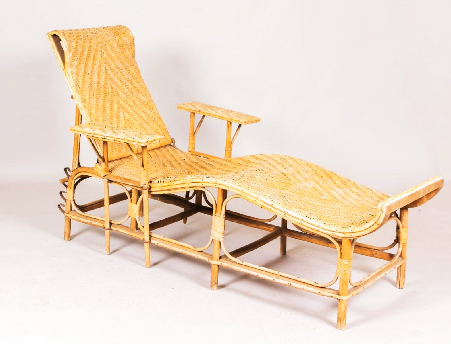 Chaise longue ajustable vintage en bambou et rotin en vente sur pamono - Chaise longue en anglais ...