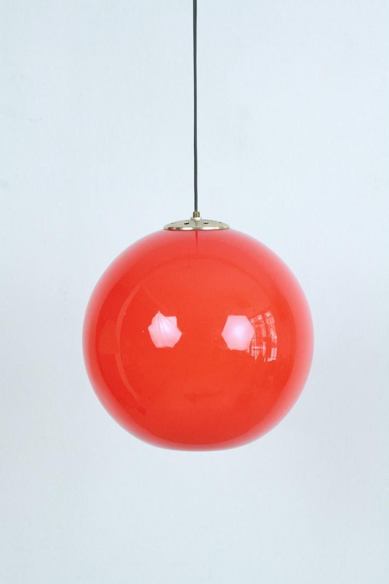 Vintage Space Age Glas Hängeleuchte in Orange