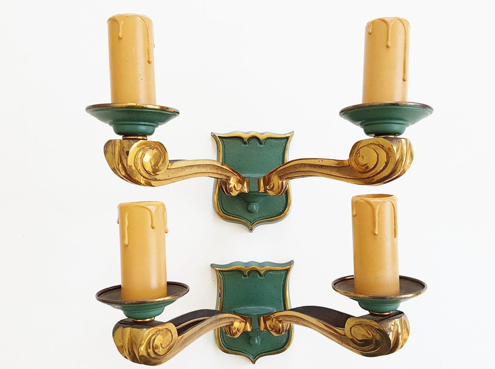 Französische Mid-Century gold & grün lackierte Bronze Wandlampen, 1950...