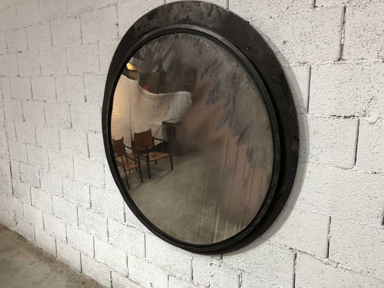 gro er vintage convex spiegel mit eingelegtem rahmen bei pamono kaufen. Black Bedroom Furniture Sets. Home Design Ideas