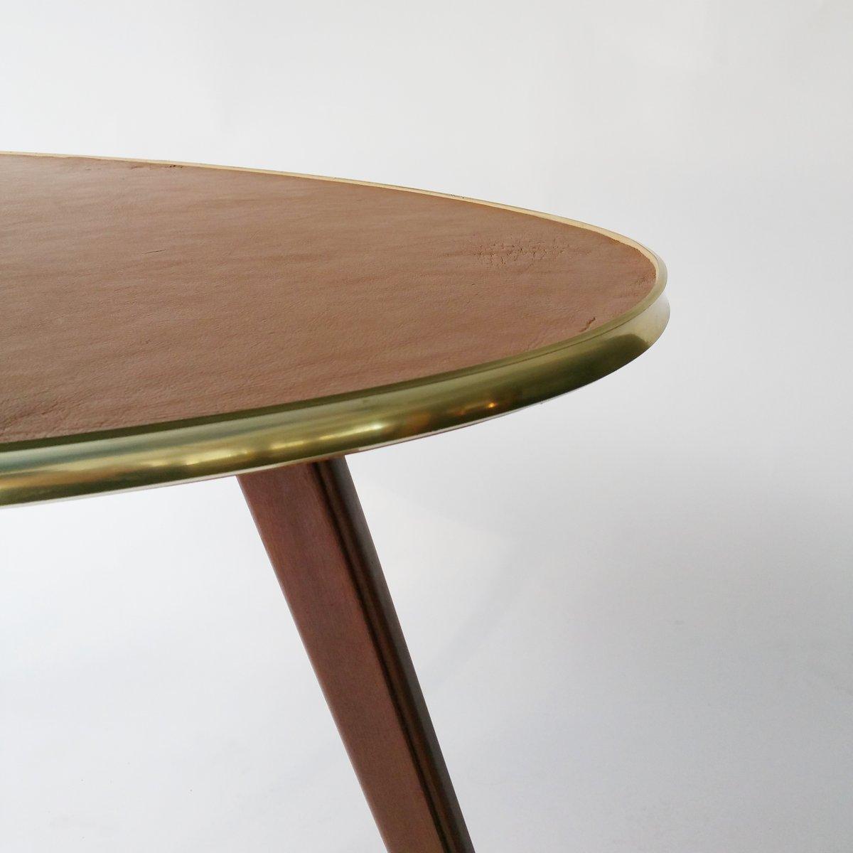 mid century couchtisch mit tischplatte aus leder 1950er bei pamono kaufen. Black Bedroom Furniture Sets. Home Design Ideas