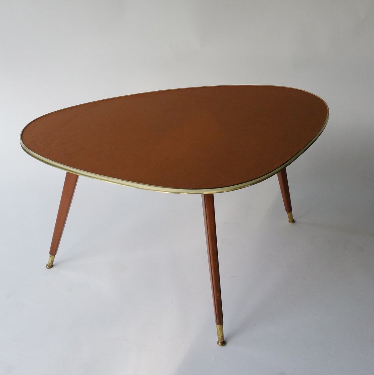 Mid-Century Coffee Table With Leather Top, 1950s For Sale