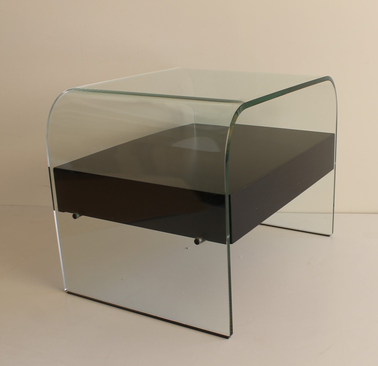 Curved Glass Nightstand From Fiam Italia 1980s