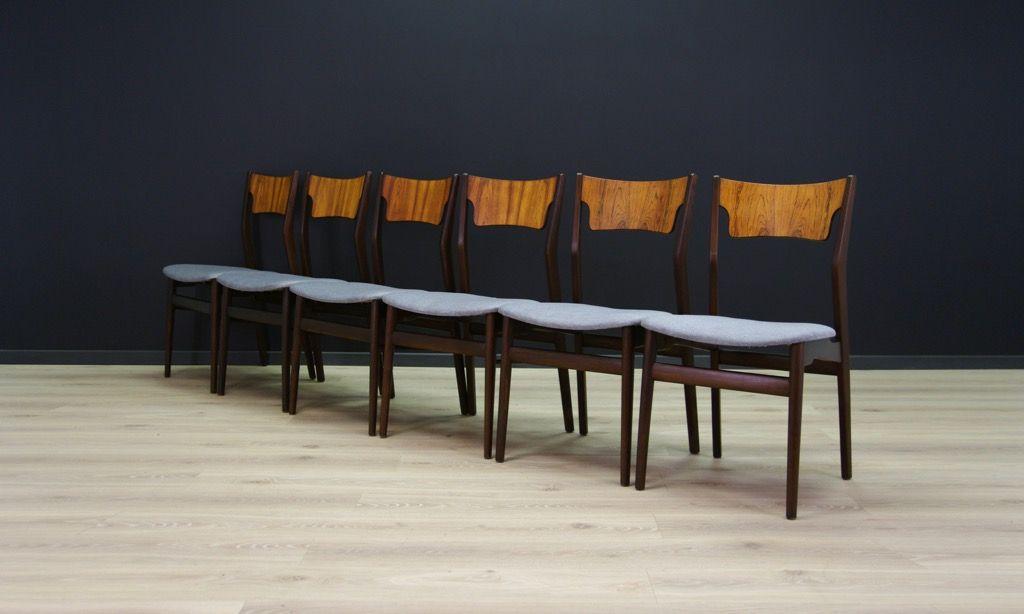 d nische vintage palisander st hle 6er set bei pamono kaufen. Black Bedroom Furniture Sets. Home Design Ideas