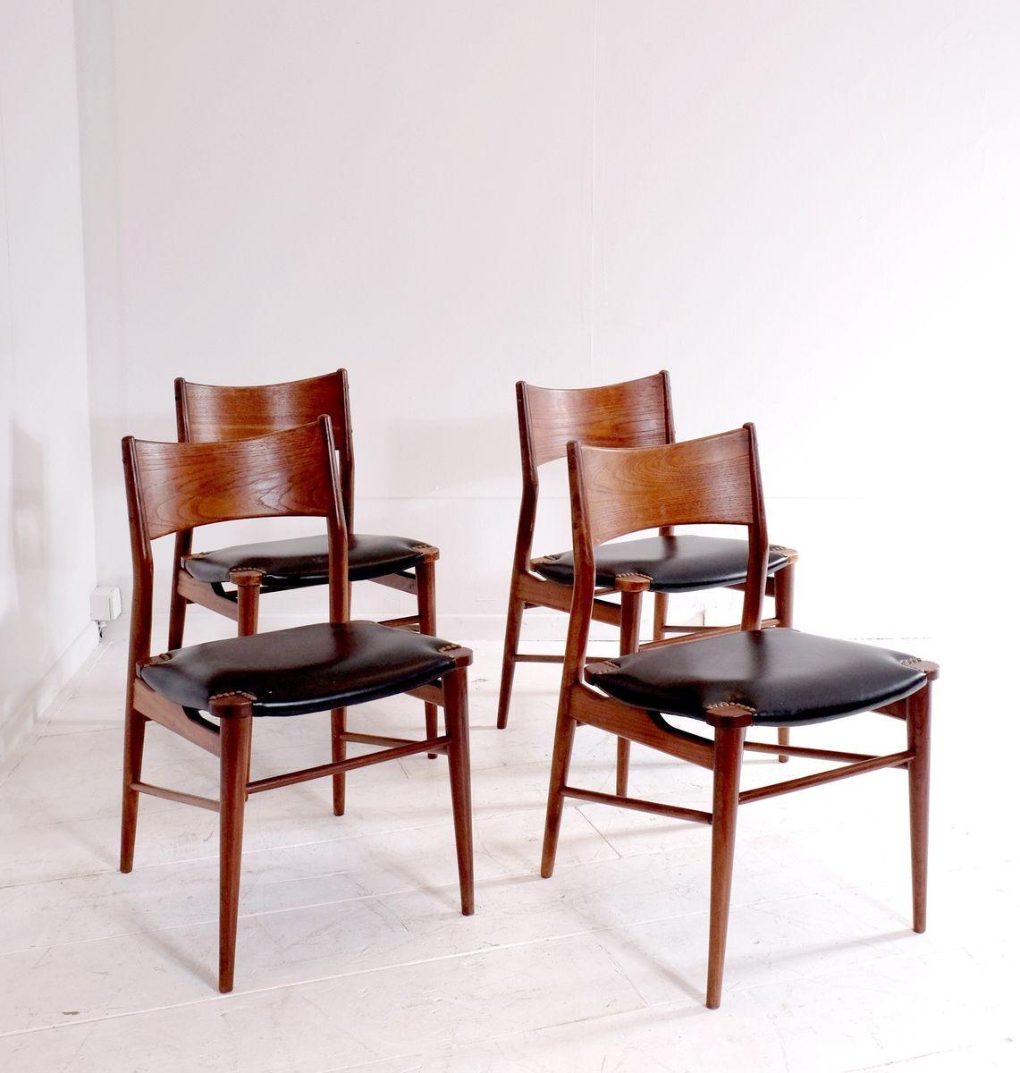 d nische teak und moleskin esszimmerst hle 4er set bei pamono kaufen. Black Bedroom Furniture Sets. Home Design Ideas