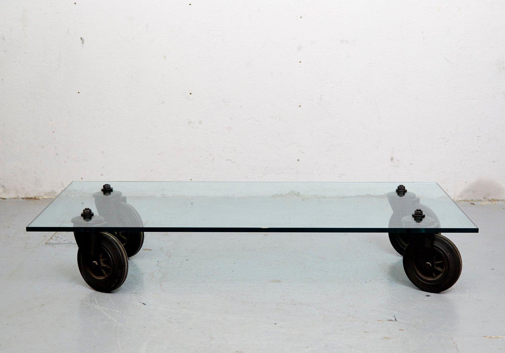 Vintage Couchtisch auf Rädern von Gae Aulenti für Fontana Arte