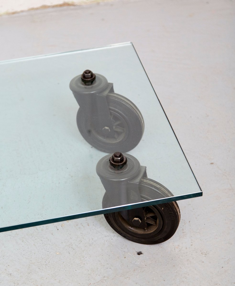 Vintage Coffee Table With Wheels By Gae Aulenti For