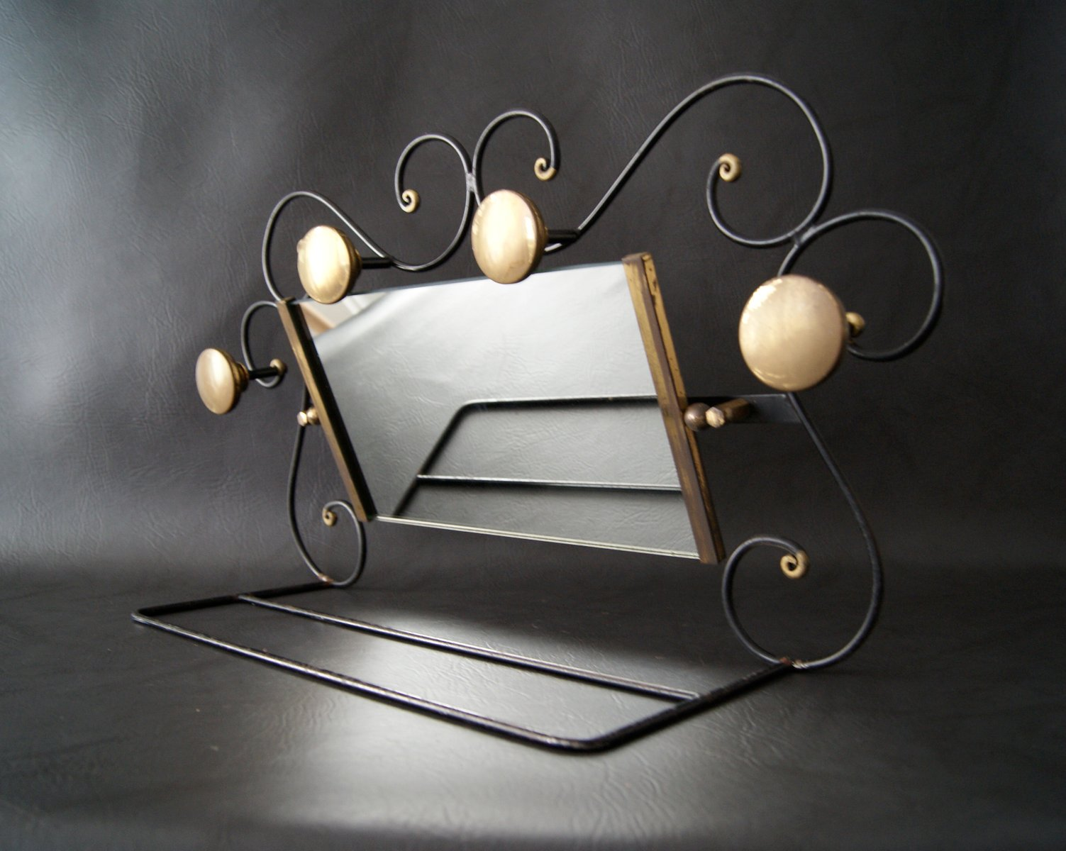Art Deco Wrought Iron, Glass & Brass Clothing Rack For