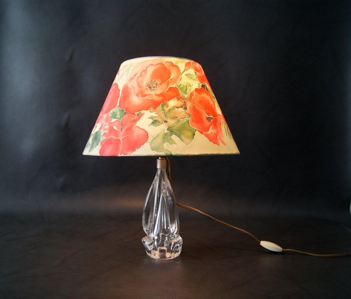 franz sische tischlampe mit glas sockel und floralem schirm 1950er bei pamono kaufen. Black Bedroom Furniture Sets. Home Design Ideas