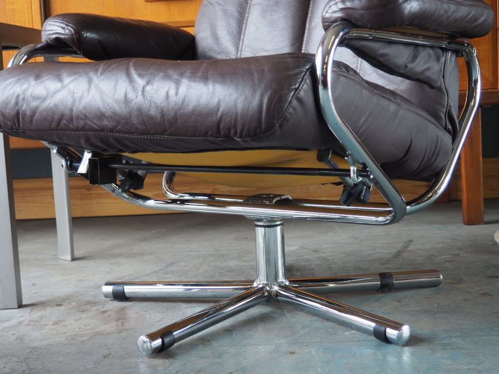 Mid Century Brown Leather Swivel Reclining Chair