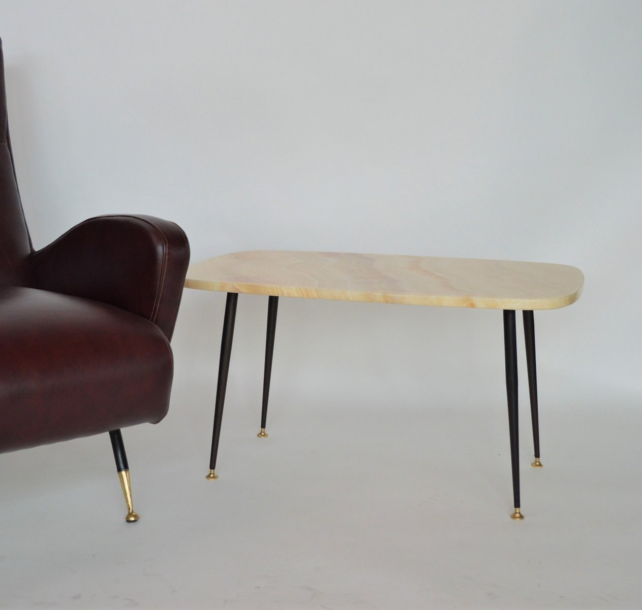 Marble Top Coffee And Side Tables: Pink Marble Top Coffee Table Or Side Table, 1950s For Sale