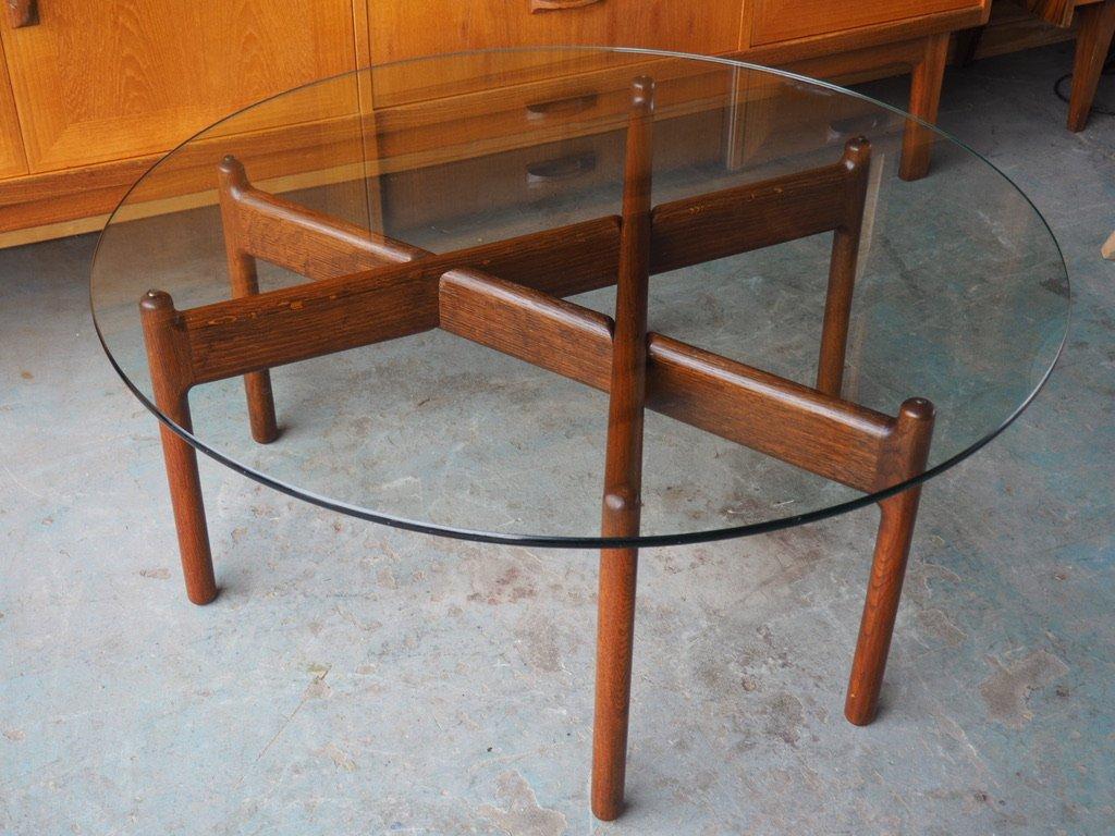 d nischer mid century couchtisch aus palisander mit runder glasplatte bei pamono kaufen. Black Bedroom Furniture Sets. Home Design Ideas