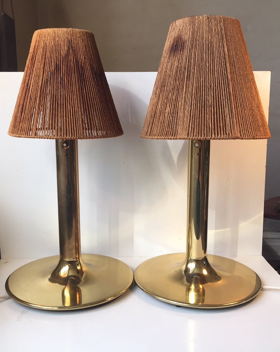 Mid Century Swedish Brass Table Lamps By Anders Pehrson For Atelje Lyktan 1960s Set Of 2