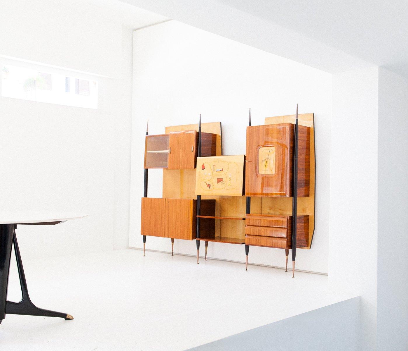 Künstlerisch Wandregal Modern Galerie Von Italienische Mid-century Messing & Holz Mit Bar,