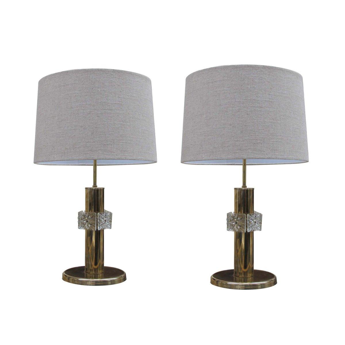 Vintage Messing Lampen mit Glasreifen, 1970er, 2er Set