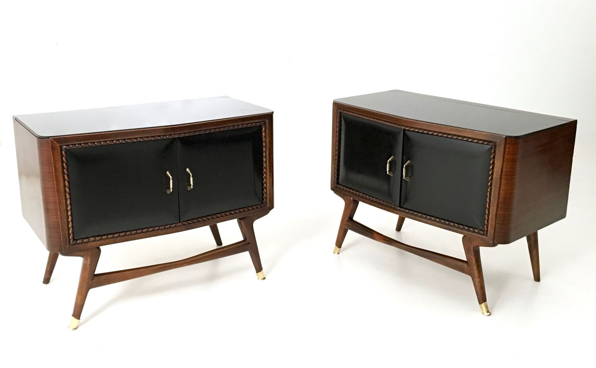 Black walnut ebonized wood nightstands with a glass top 1950s set of 2