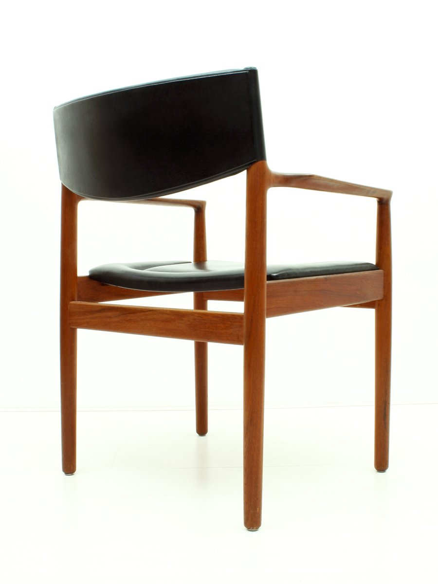 fauteuil en teck ska noir de vamo s nderborg danemark 1960s en vente sur pamono. Black Bedroom Furniture Sets. Home Design Ideas