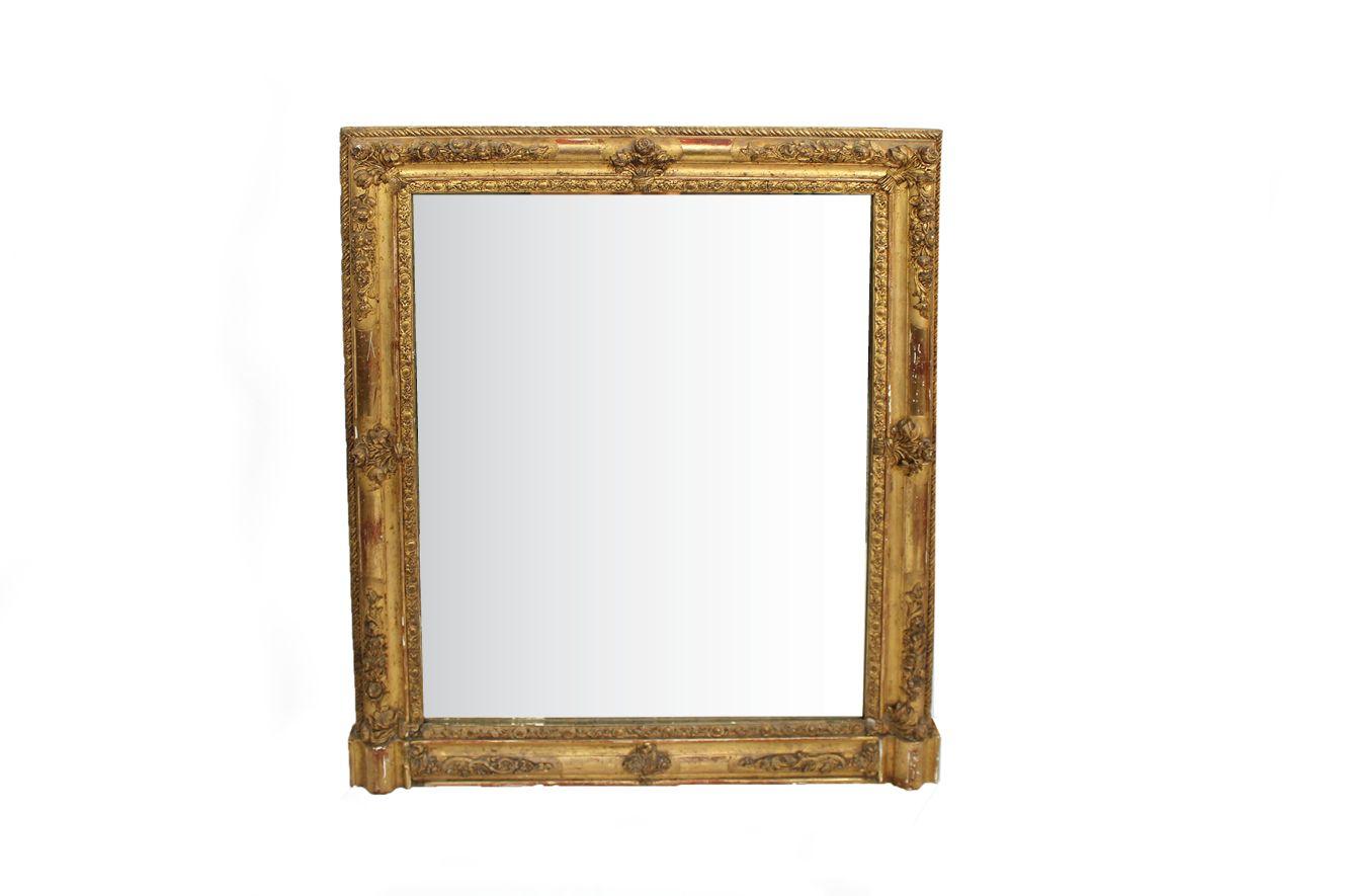 antiker viereckiger spiegel mit geschnitzten rosetten bei. Black Bedroom Furniture Sets. Home Design Ideas
