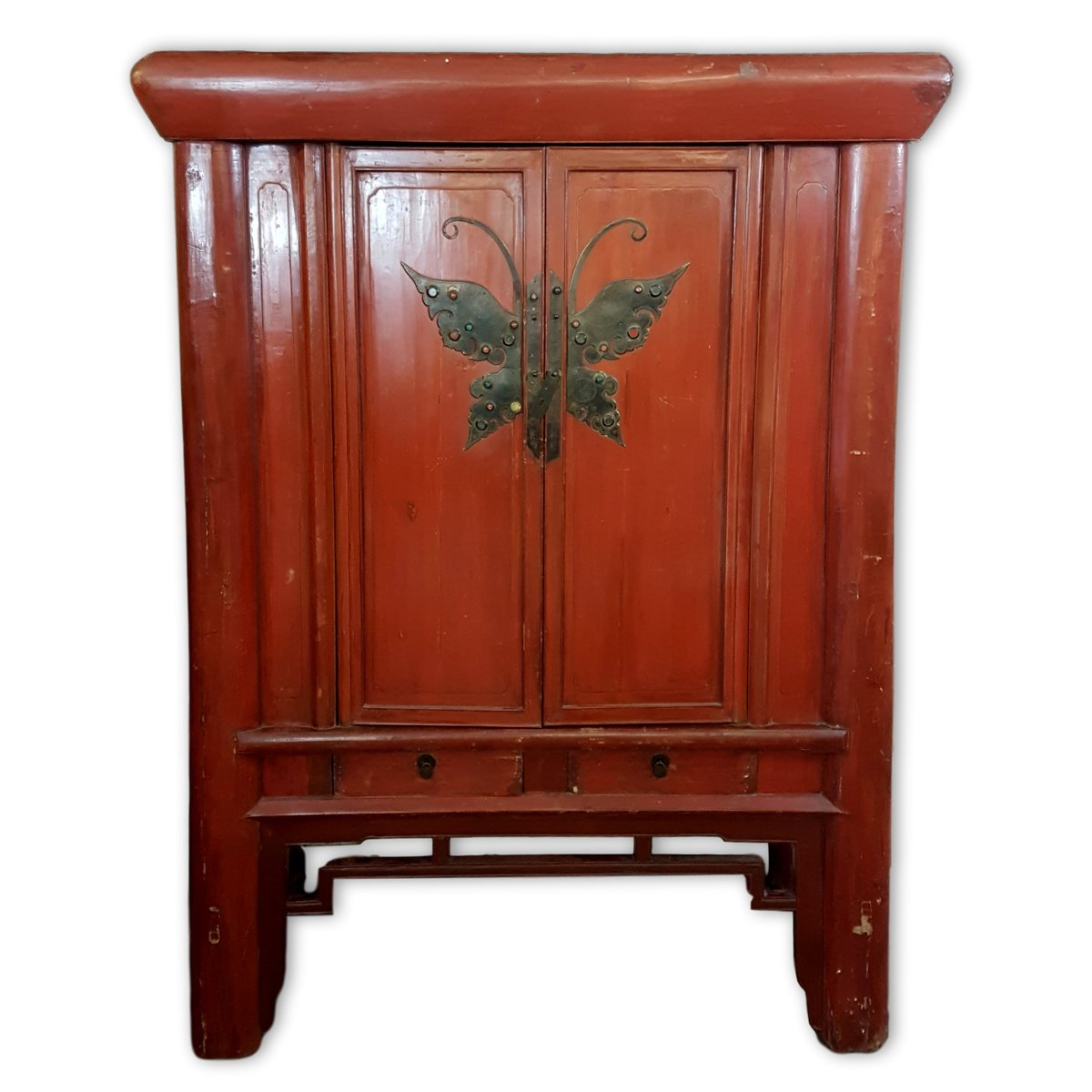 Antique Chinese Red Lacquered Wedding Cabinet - Antique Chinese Red Lacquered Wedding Cabinet For Sale At Pamono