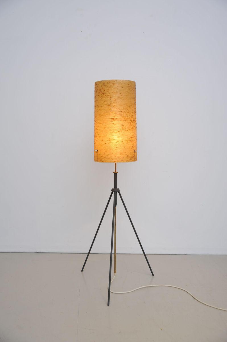 Verstellbare Vintage Dreibein Stehlampe Mit Fiberglas Schirm Bei