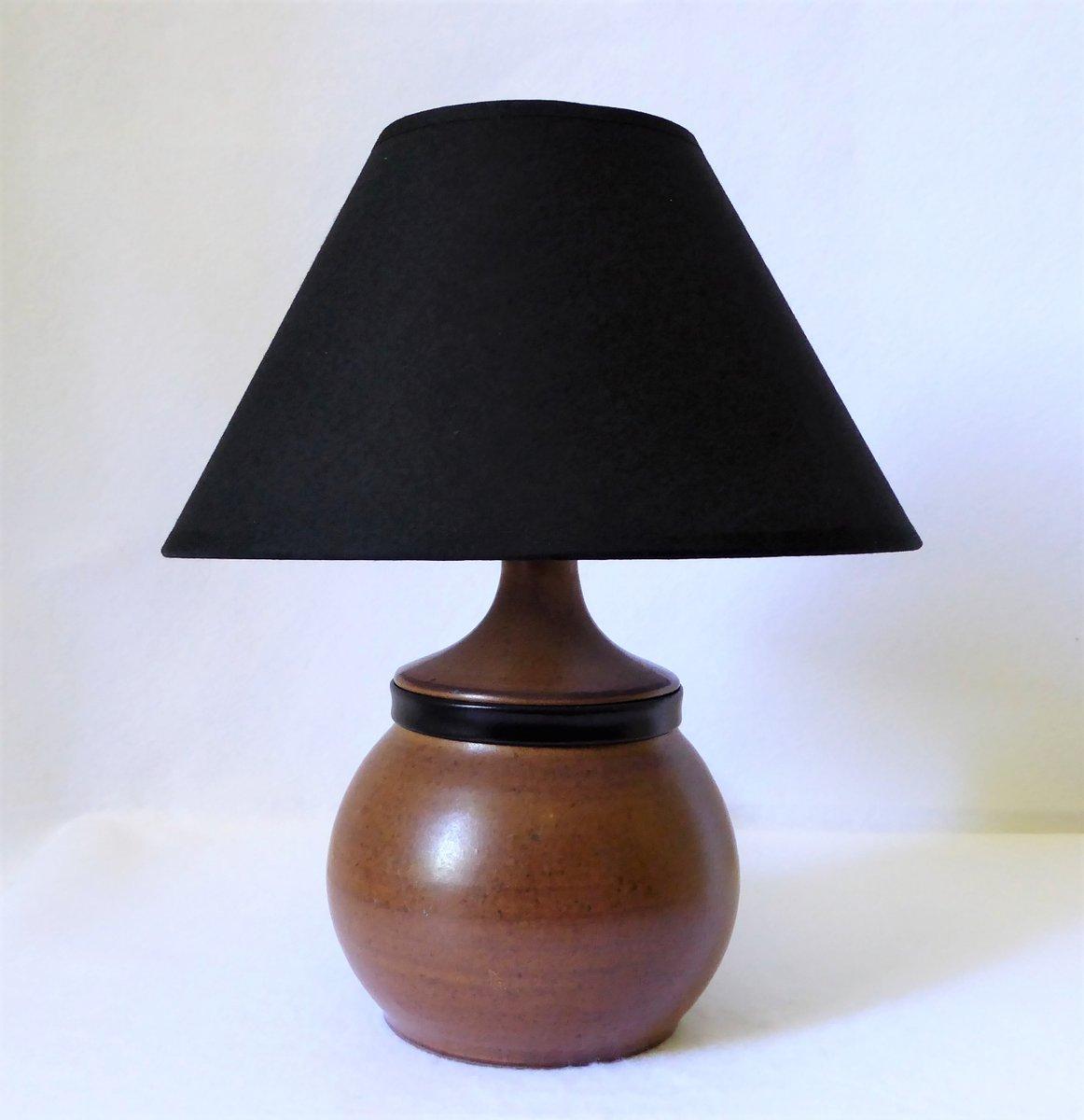 Keramik und Leder Tischlampe von Gabriel Hamm, 1980er