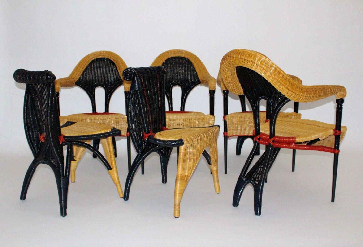 korbgeflecht st hle von borek sipek f r driade 1988 6er set bei pamono kaufen. Black Bedroom Furniture Sets. Home Design Ideas