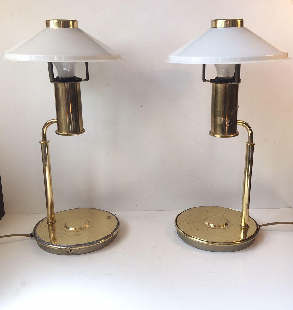 Skandinavische vintage messing tischlampen 1960er 2er for Tischlampen vintage