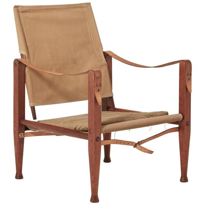 Mid-Century Safari Sessel aus Leinen von Kaare Klint für Rud Rasmussen
