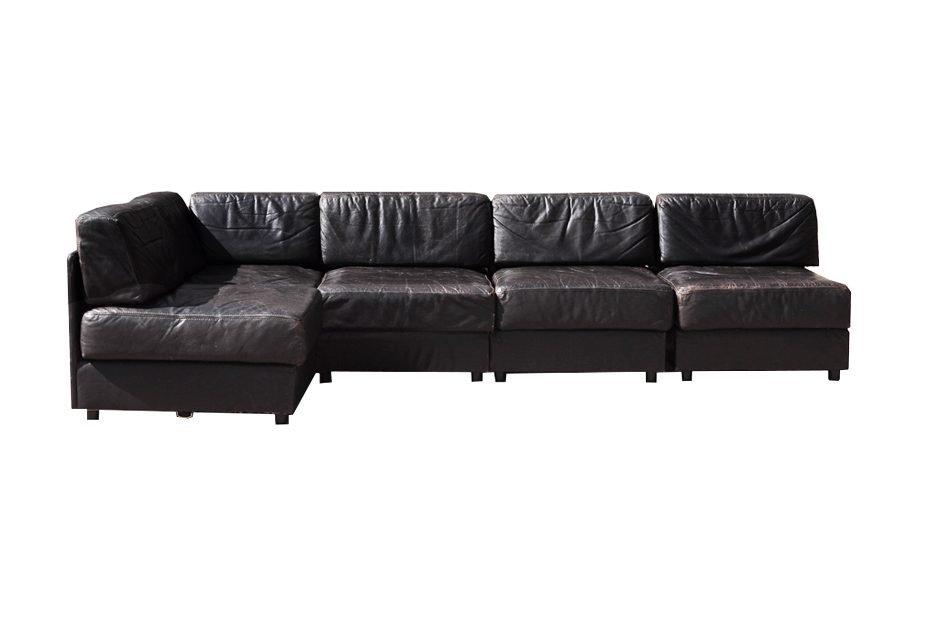 Dark Brown Leather Sofa, 1970s