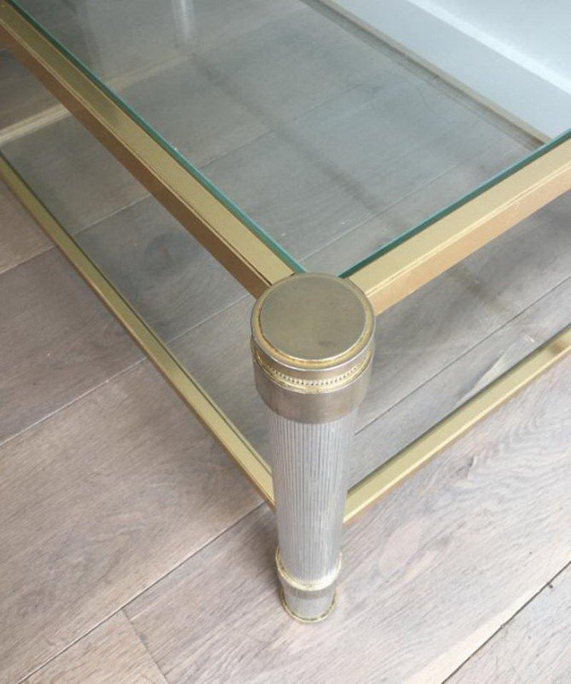table d 39 appoint chrom e et dor e avec pieds cannelures. Black Bedroom Furniture Sets. Home Design Ideas