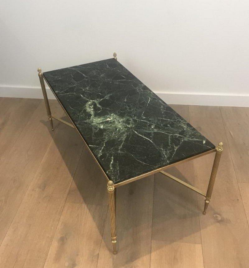 Table Basse En Bronze Et Laiton Avec Plateau En Marbre Vert De