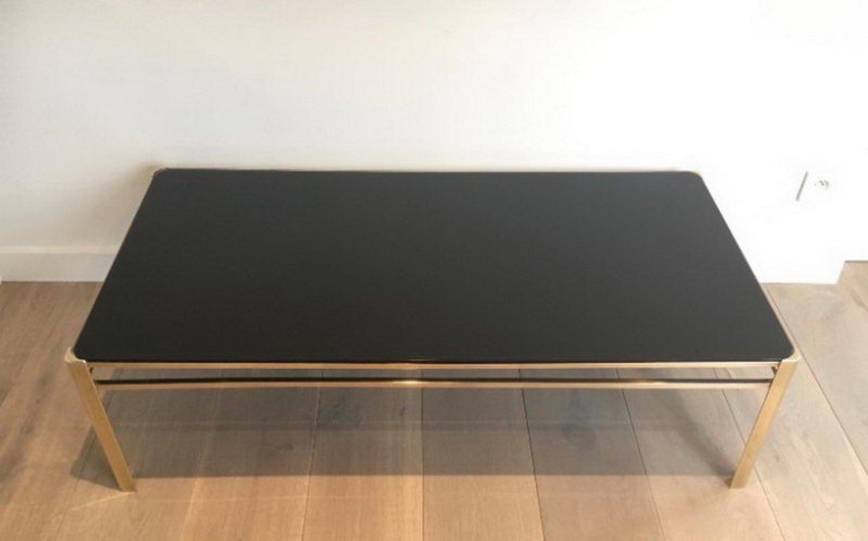 Tavolino da caffè in bronzo con ripiano in vetro laccato nero di