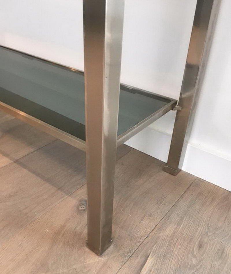 table console en acier bross avec plateau en verre par guy lef vre pour maison jansen 1970s en. Black Bedroom Furniture Sets. Home Design Ideas