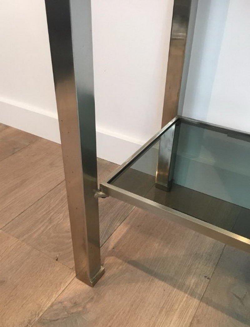 table console en acier bross avec plateau en verre par. Black Bedroom Furniture Sets. Home Design Ideas