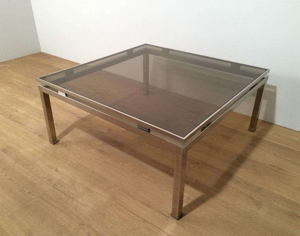 table basse carr e en acier bross par guy lef vre 1970s en vente sur pamono. Black Bedroom Furniture Sets. Home Design Ideas