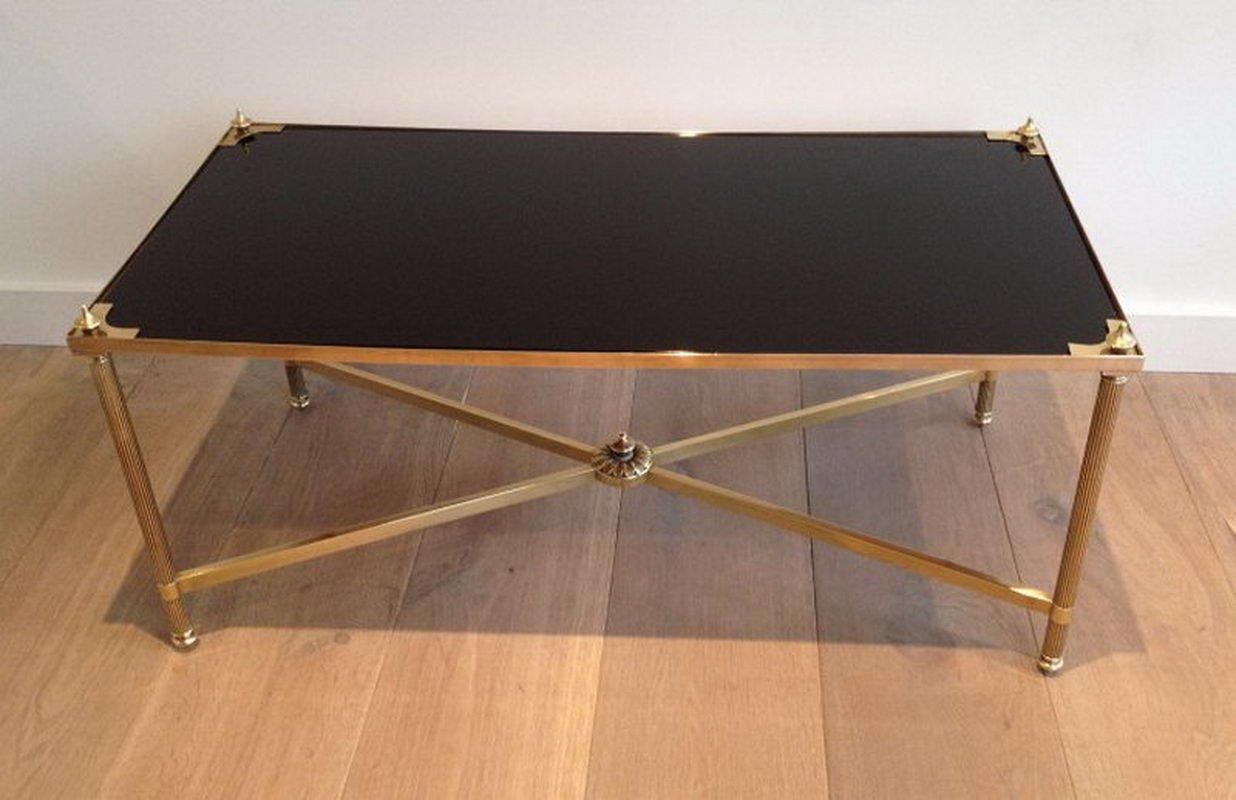 Rechteckiger Messing Couchtisch mit schwarz lackierter Glasplatte von ...