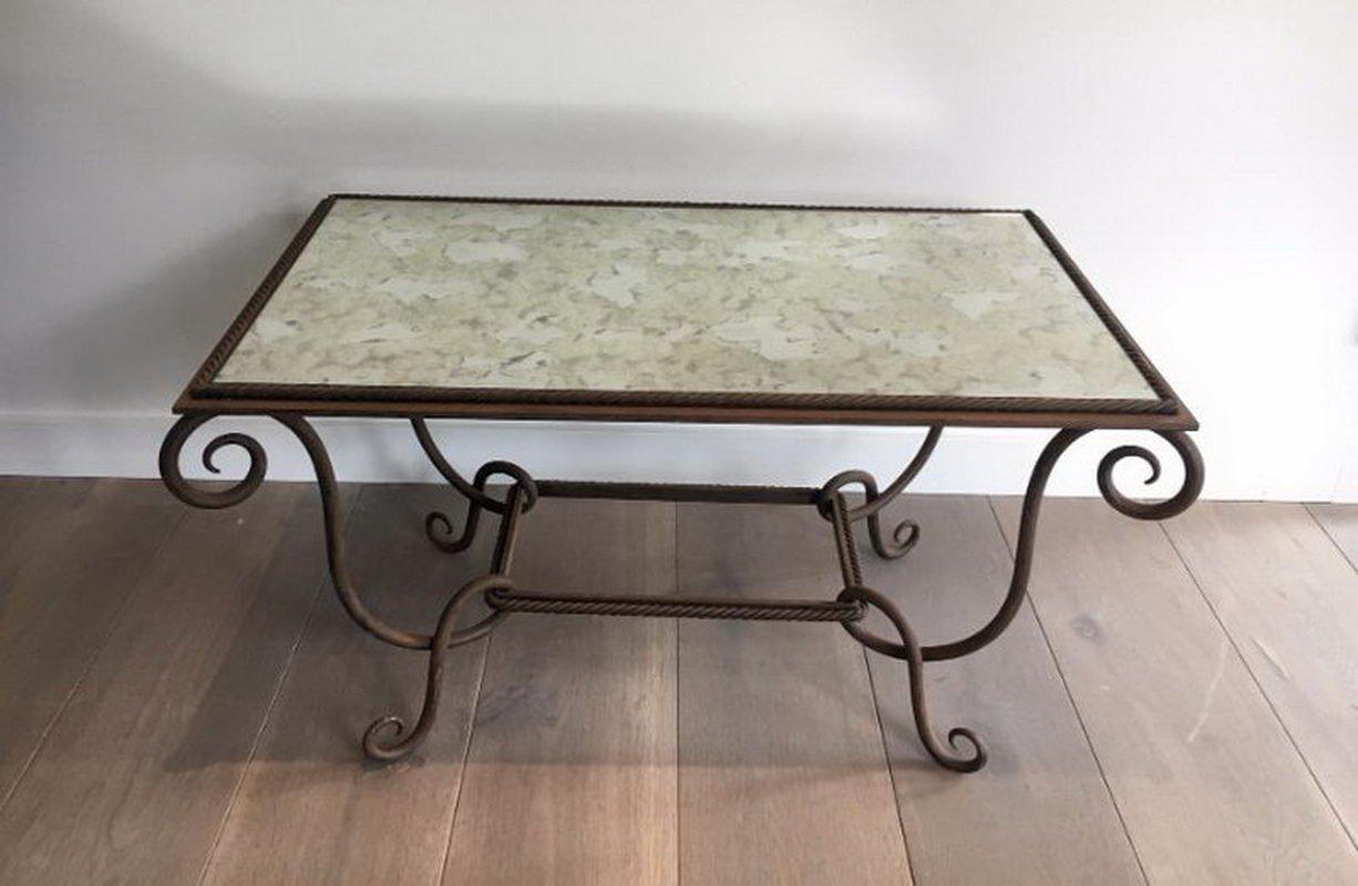 Tavolino in ferro battuto e martellato con ripiano specchiato ...