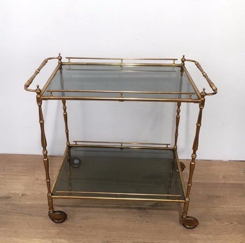 kleiner messing servierwagen mit get ntem glas 1940er bei pamono kaufen. Black Bedroom Furniture Sets. Home Design Ideas