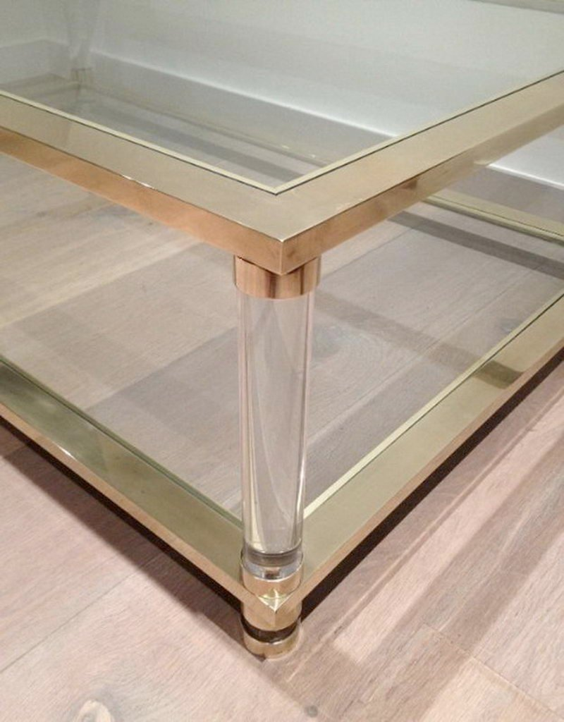 Large Lucite and Brass Coffee Table, 1970s for sale at Pamono