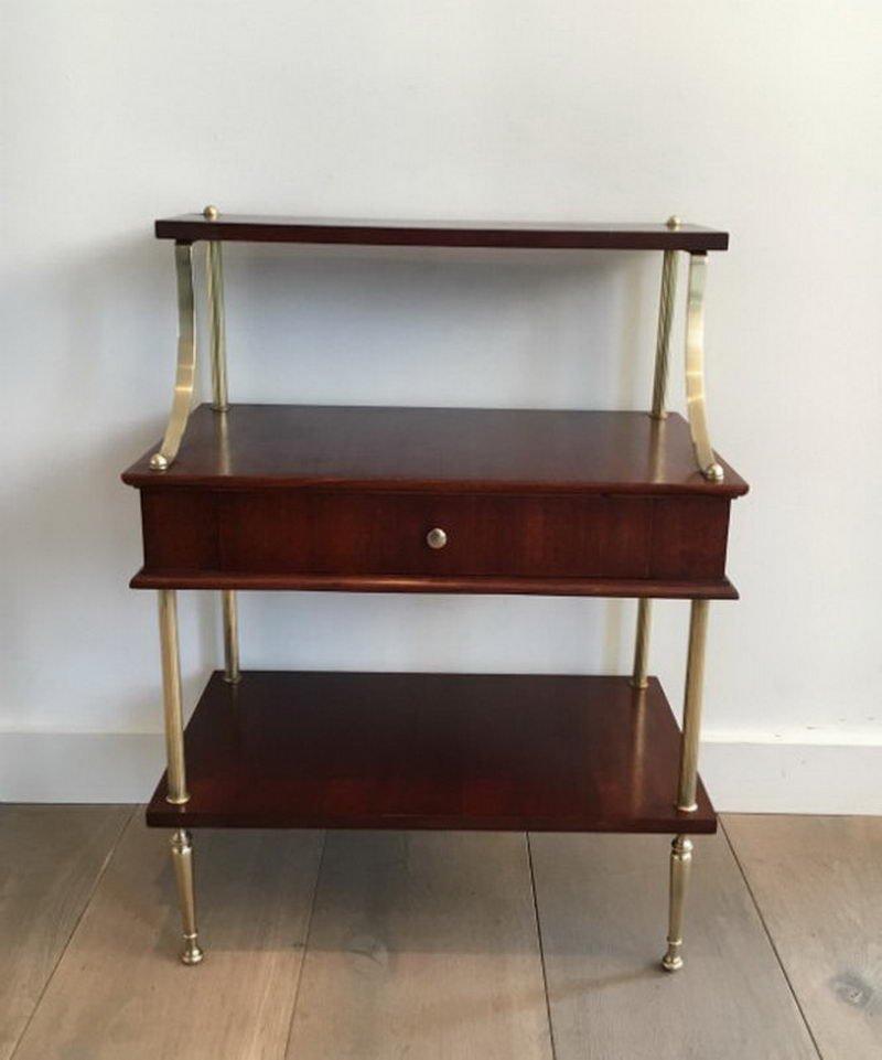 kleines mahagoni und messing regal mit schublade 1940er bei pamono kaufen. Black Bedroom Furniture Sets. Home Design Ideas