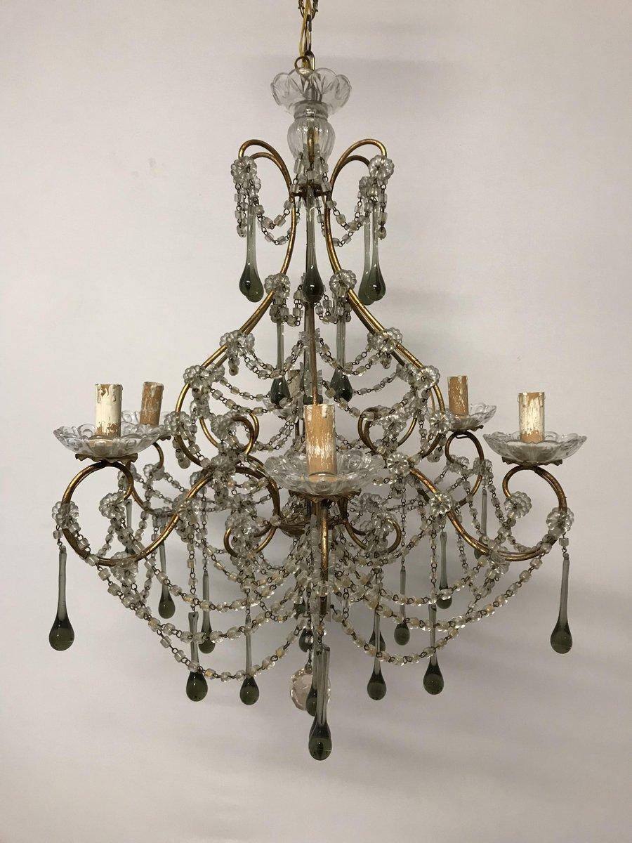 Vintage Murano Glas & Kristallperlen Macaroni Kronleuchter